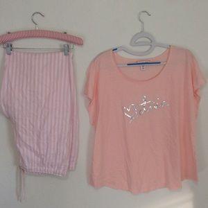 VICTORIAS SECRET   Pajama Pants & Top Set Xl Pink